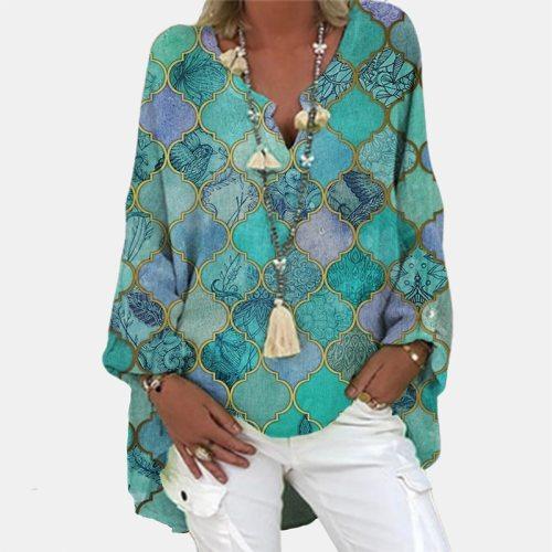 Casual Daisy Print Linen Cotton Blouse Women Autumn V Neck Long Sleeve Blouse Shirt Lady Loose Blusa Pullove Tops Plus Size 5XL