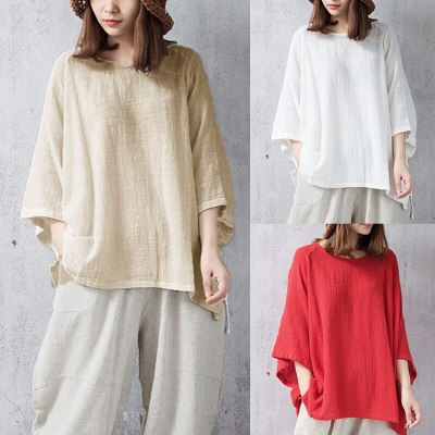 2021 Hot Style Super Large Retro Long-Sleeved Large Size Top Loose Autumn T-Shirt Cotton And Linen Women'S Clothing