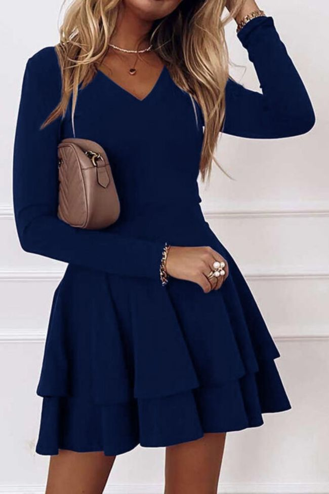 New Arrival!!! Mini Dress Solid Color Long Sleeve Women Double Ruffle A Line Dress for Party