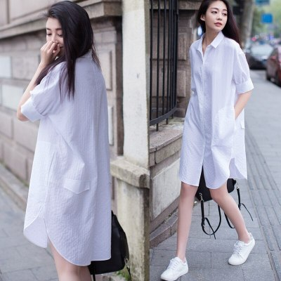Summer Pregnant Clothes Plus Size Shirts Maternity Dress Pregnancy Clothing Long Casual Blouse Solid Color Loose White Shirt
