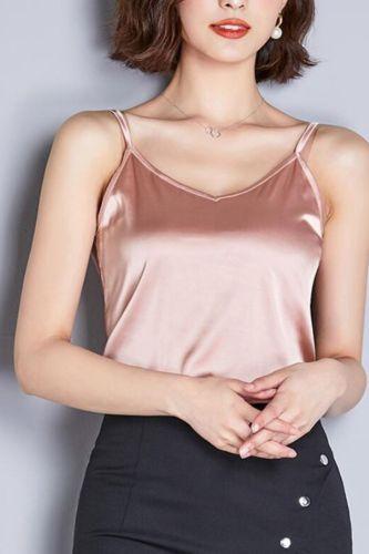 Korean Fashion Silk Tank Top Women Satin Spaghetti Strap Tank Top Office Lady Halter Top Plus Size XXXL Pink Tops for Women