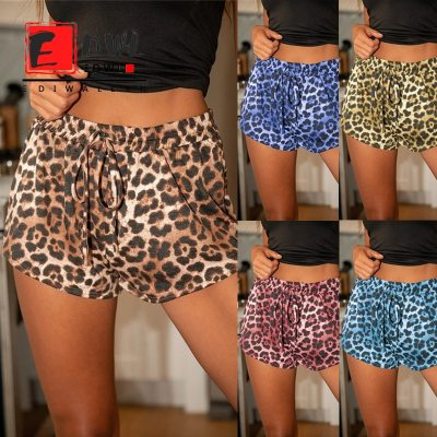 Summer Plus Size Women's Leopard Print Drawstring Home Casual Shorts Ladies Trousers With Laces