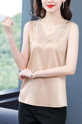 Summer Korean Fashion Silk Tank Top Women Satin Office Lady Tank Top Mesh Solid Black Cami Top Plus Size XXXL/5XL for Women