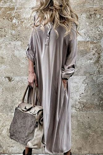Maxi Dress Women Vintage Dresses Solid Button Loose Plus Size Long Sleeve Irregular Hoodie Dress Long Dress