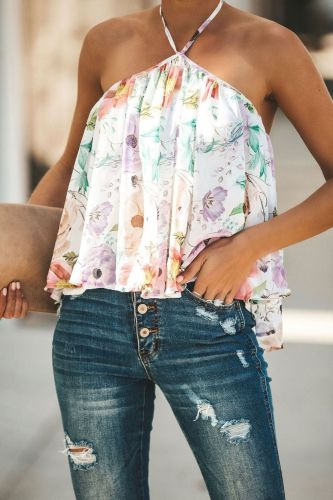2021 Hot Sale Women's Halter V-neck Wrapped Chest Printed Chiffon Shirt