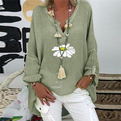 5XL Casual Women V Neck Linen Cotton Blouse Shirt Elegant Daisy Print Female Tops Spring Autumn Long Sleeve Loose Blusa Pullover