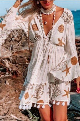 Women Starfish Flower Print Long Sleeve V-Neck Beach Bohemian Dress Tassel Mini Boho Dress