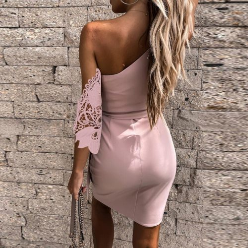 Office Lady Elegant Off Shoulder Irregular Party Dress Summer Women Fashion Sexy Hollow Out Lace Sleeve A-Line Dress Vestidos