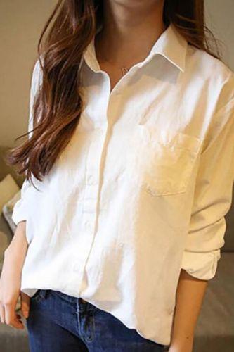 2021 Women'S Spring White Long Sleeve Korean Loose Leisure Pure Color Shirt