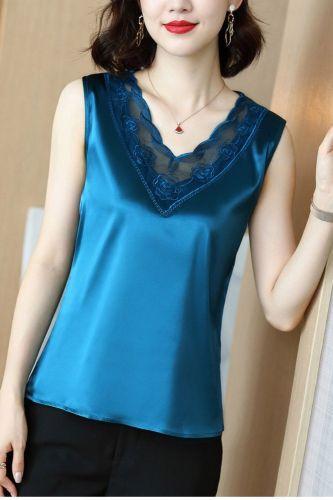 Korean Fashion Silk Tank Top Women Satin Office Lady Tank Top Lace Solid Plus Size XXXL/5XL Clothing for Women
