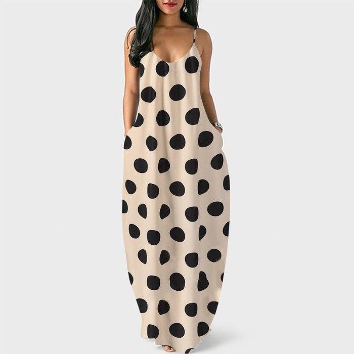 loose Dress Sleeveless Elegant Empire V-neck tank dresses woman summer fashion sexy polka dots cloth Women Basic Vestidos AC0963
