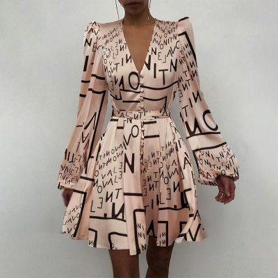 Spring Fashion Satin Solid Long Sleeve Dress 2021 Elegant Women Button A-Line Mini Dress Casual Loose V-Neck Party Dress Vestido