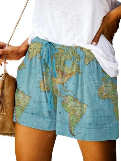 2021 New Casual Pants Women Summer European And American Solid Color Map Printing Wide-Leg Shorts