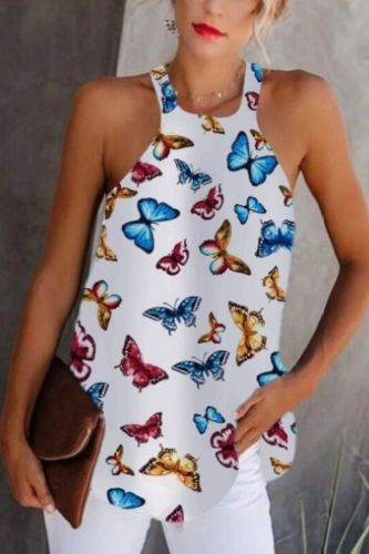 Women's Chiffon Butterfly Tops Sleeveless Ladies Tops Tee Shirts Summer Casual Print Halter Female Shirts Casual Women Tops