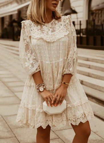 Lace Dress Women's Summer Sundress Fashion Three Quarter Sleeve Female Hollow Cotton Pullover Dresses Beach Clothing