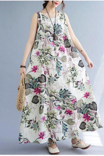 Sleeveless Beach Style Dress 2021 New Arrival Loose Summer Dress Cotton Linen Print Floral Vintage Women Travel Casual Dress