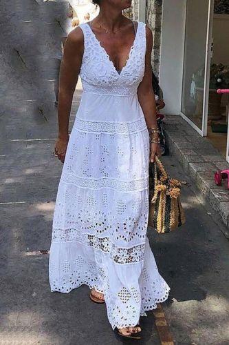 2021 Summer Women Long Party Dress Sleeveless Hollow Out White Lace Tunic Maxi Beach Dress