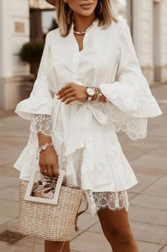 Women Sexy V-Neck Patchwork Lace Party Dress Spring Summer Elegant Fashion Flare Sleeve Button Shirt Dress Office Lady Dress