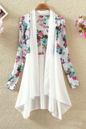 Women Long Chiffon Floral Sunscreen Ladies Cardigan Blouses Summer Beach Ladies Shirt Tops 2020