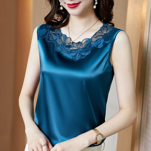 Summer Korean Fashion Silk Tank Top Women Satin Office Lady Tank Top Mesh Lace Solid Black Cami Top Plus Size XXXL/5XL for Women