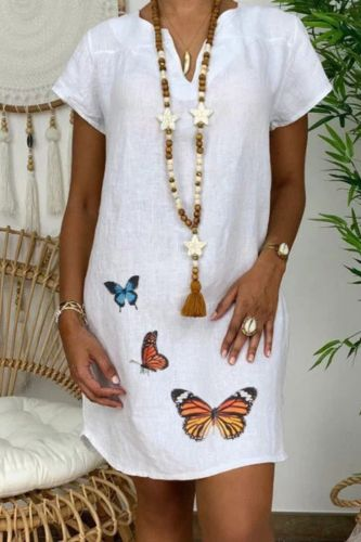 40# Women Summer Dresses Casual Plus Size Loose V-neck Butterfly Print Short Sleeve Peplum Dress Beach Party Dresses