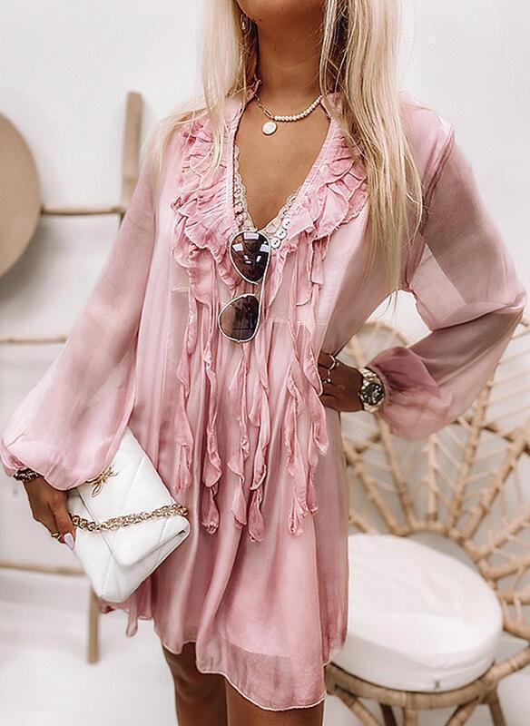 2021 Summer Women Fashion Party Dresses Elegant Long Sleeve Loose Chiffon Dress Sexy V Neck Ruffle Lady Solid Color Mini Dress