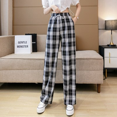 Net red black and white plaid pants children's summer thin 2021 new loose straight small vertical wide leg pants