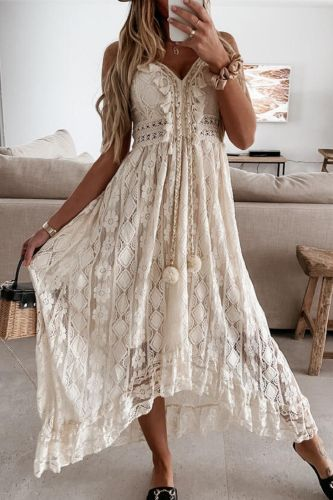 Women Lace Strap Dress Sleeveless V-neck Hollow Out White Sexy Beach Braid Tassel Long Dresses Party Evening Clothing Lady