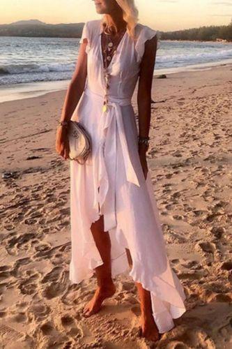 Women Elegant Solid Color Ruffle Beach Dress 2021 Summer Sexy Sleeveless Dress Lady Casual Chiffon Dress Vestidos