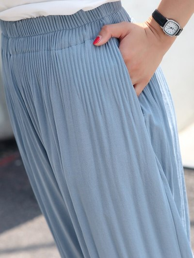 Loose Summer Thin Section Large Size Female Pleated Radish Casual Cropped Pants Regular  Casual