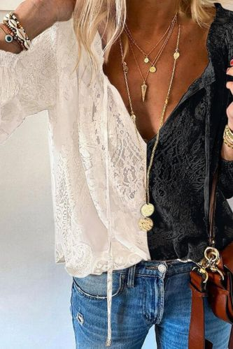 Sexy Deep V Neck Lace Boho Blouse Elegant Long Sleeve Patchwork Women Shirts 2021 Spring Summer Embroidery Hollow Out Tops Mujer