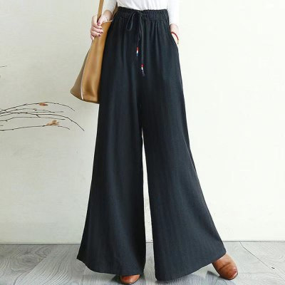 2021 Summer New Japanese Style Women's Solid Color Loose Casual Casual Pants Drawstring Elastic Waist High Waist