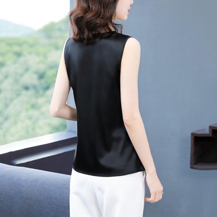 Silk Women Tops Woman Satin Tshirt Tank Sexy Women Silk Lace Shirts Elastic Woman Satin V-neck Shirt Top Plus Size 4XL