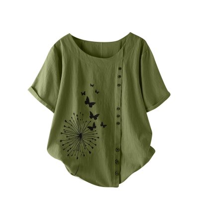 Women's Blouses Summer Tops Casual O-Neck Short Sleeve Flower Print Loose Shirt Blouse Ladies Tops blusas camisas de mujer