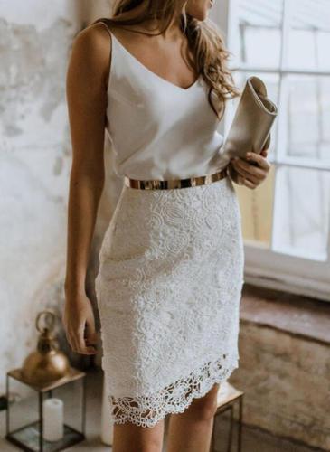 2021 Summer Women Mini Party Dress Spaghetti Strap White Lace Sexy Bodycon Short Pencil Dress