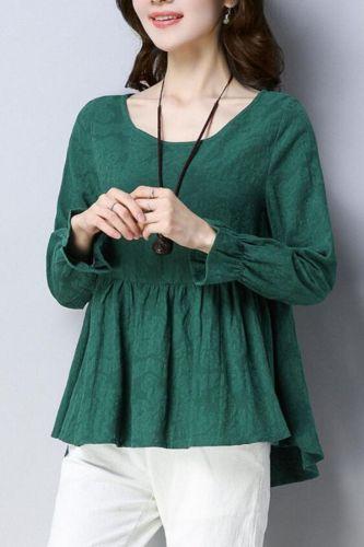 Women Blouse Autumn Crew Neck Women's Long-Sleeved Loose Large Size Shirt Blusas Ropa De Mujer