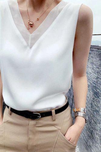 Summer Elegant Tunic Plus Size Women's Black Blouses Vintage Office Satin Silk Blouse Basic Chiffon Tops Shirt for Women 13573