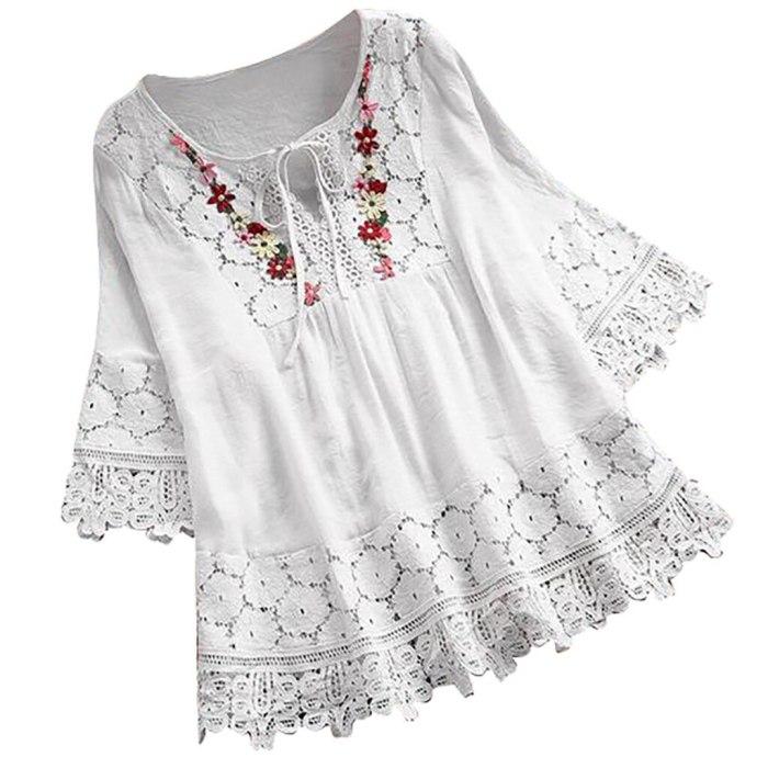 blouse women white Plus Size Vintage Short Sleeve V-Neck Lace Button Top Blouse summer 2021 white shirt blusas mulher elegantes