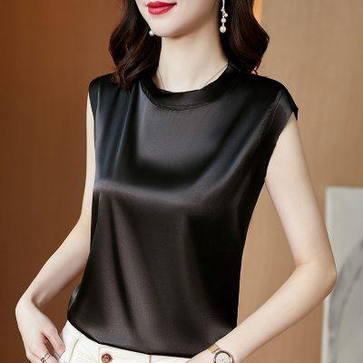 Solid Color Round Neck Satin Tank for Women Office Elegant Basic Top Summer Sleeveless Korean Plus Size Lady Slim Tee Vests