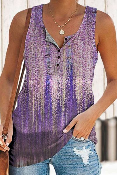 New Summer Women's T-shirt Loose V-neck Button Female Vest 3D Gradient Flower Print Beach Party Casual women Top S-3XL Plus Size