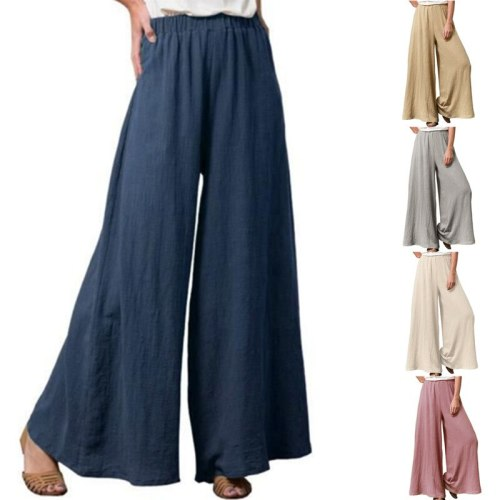 Summer Wide Leg Pants For Women Casual Elastic High Waist New Fashion Solid Color Loose Long Pants Pleated Pant Trousers Femme
