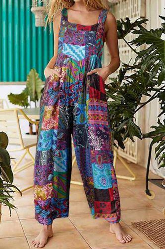 40# Tie dye Printed Jumpsuit Women Patchwork Ethnic Style Vintage Buttons Plus Size Suspender Jumpsuits Combinaison Femme
