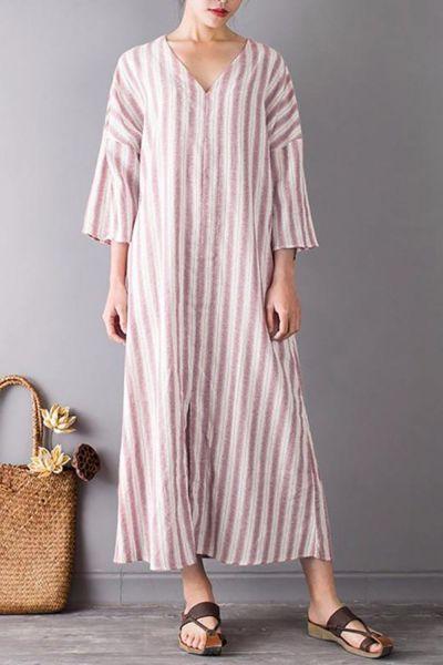 Women Dress Plus Size Summer Tide Striped Casual Short Sleeve Maxi Dress For Women Long Dress Fashion Lady Dresses