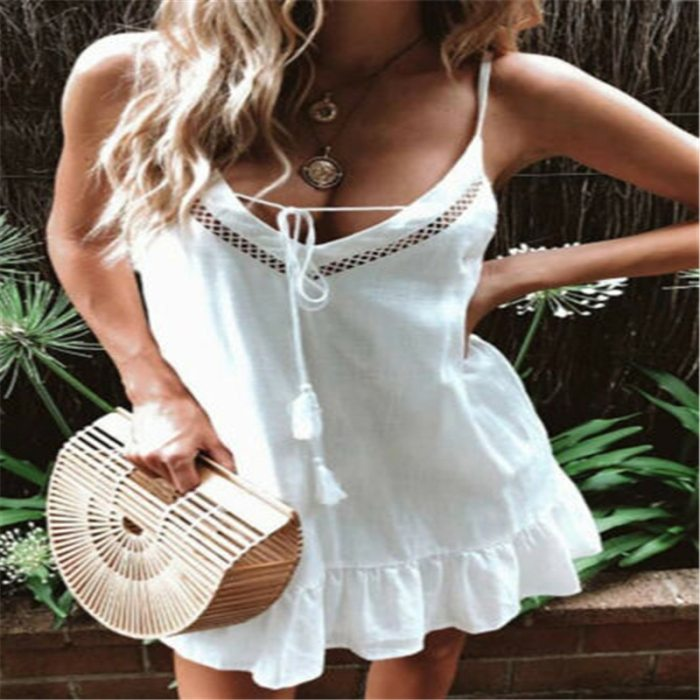 Women Holiday Strappy Mini Dresses 2020 Summer Beach Dress Spaghetti Strap Deep V-neck Sundress