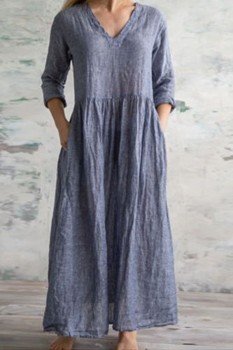 2021 New Solid Color Cotton And Linen Simple V-Neck Women'S Dress