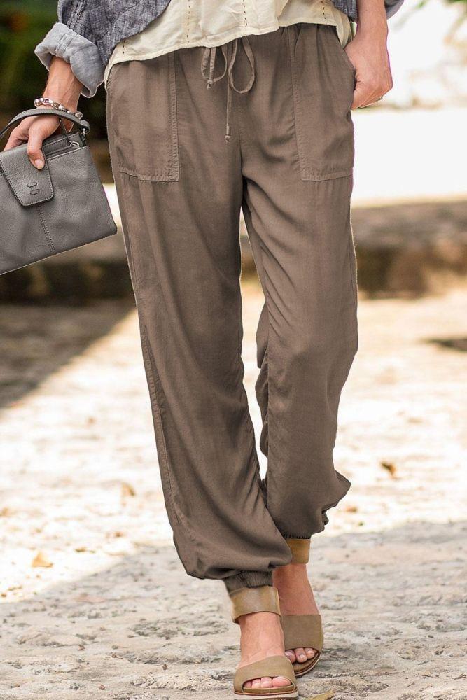 Women High Waist Drawstring Jogging Pants Plus Size Female New Fashion Solid Color Loose Harem Trousers Ladies Casual Pants