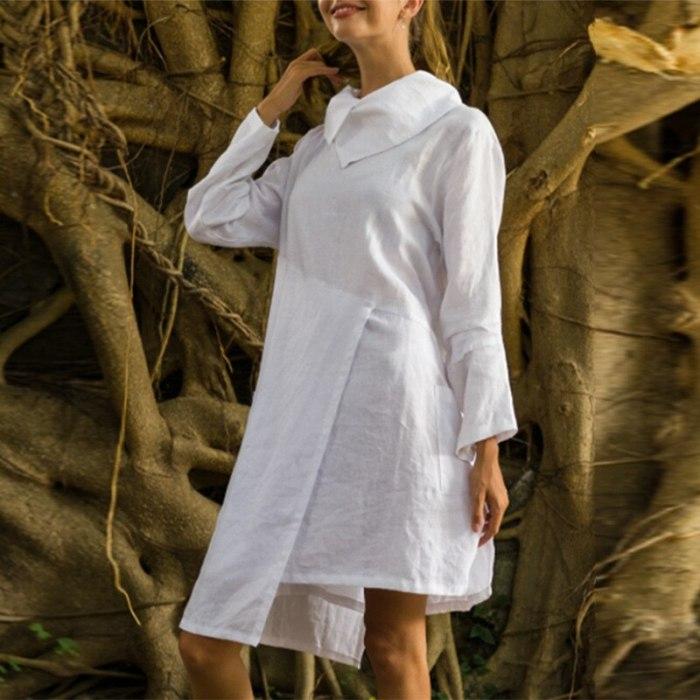 Loose Oversize Cotton and linen Women Robe Dress Elegant Solid Turn-down Collar Shirt Dress Vintage Irregular Casual Beach Dress