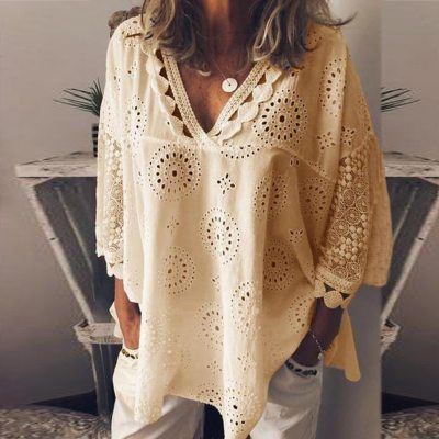 Women Blouse Cotton Linen Hollow Out Lace Patchwork Tunic Women Plus Size 5xl Geometry V-neck Summer Shirt Vrouw Blouse Tops