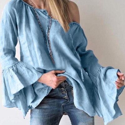 Women Tops Shirts Blouses Korean Plus Large Size Long Puff Sleeve 2019 Fashion Autumn Cotton Clothes
