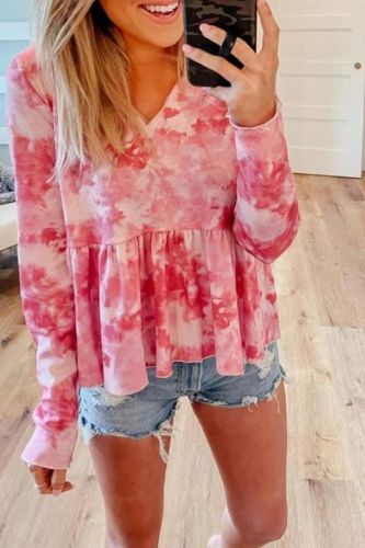 2021 New Autumn Winter Women Fashion Tie Dye Printed Gradient Color Tees Sexy V-neck Casual Long Sleeve Female T-shirt Tops